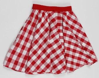 S Red White Gingham Skirt, Handmade PICNIC Skirt, Womens Gingham skirt, Handmade Gingham Skirt, Gingham Twirl Skirt, Womens Checker skirt