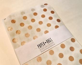 20 Medium Paper bags - Rose Gold Metallic Dot - Package embellishment - Goodie bags - Popcorn bags - Party - Wedding Reception - Food - Grad