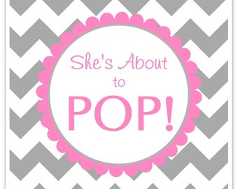 Baby Shower About to Pop labels, Chevron, Square About to Pop Stickers, Baby Shower Labels