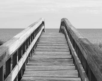 Beach decor, ocean wall art photo print, black and white photography, pier walkway picture, paper or canvas 8x10 12x12 16x20 16x24 20x30