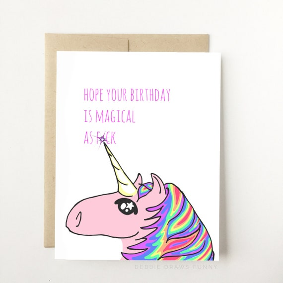 Hope Your Birthday Is Magical A F Unicorn Birthday Card