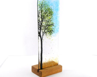 Fused Glass Green Tree with wood stand, Gift, Kiln Formed, Glass Gift, Tree