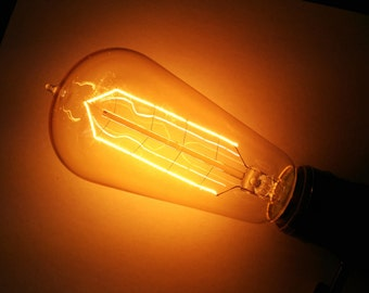 Simple Vintage Lighting ST58 Edison Style Incandescent Filament Light Bulb, E26 Base, 40W or 60W, 120V, Antique Style, Amber Tinted or Clear