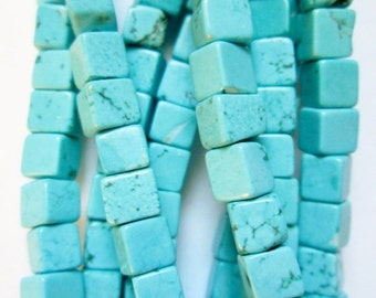 "Sky Blue Turquoise Magnesite Cube Beads - 4 mm x 4 mm Gemstone Beads - Strand 16"", 91 beads, A- Quality"