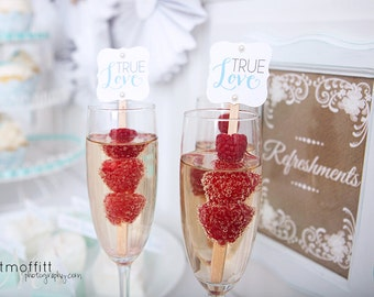Instant Download - True Love Drink Stirrers - DIY Printable - As seen on Wedding Chicks