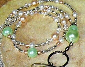Pearl Lanyard, Id Badge Holder, Id Necklace