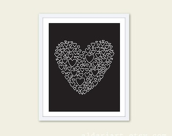 Black Heart - Digital Print - Wall Art -  Love - Simple Modern Home Decor - Valentines Day