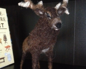 Handmade needle felted sculpture animal art DEER