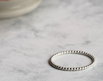 Dotted Stacking Ring - Skinny - Sterling Silver | midi ring | stacker ring | simple silver ring | bubble ring | dot ring | mother's day