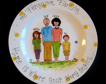 """Personalized 12"""" Family Platter - Hand Painted Family Platter - great wedding, house warming, anniversary or hostess gift"""