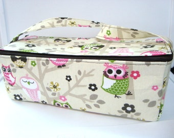 Super Double Wide Large 6 inch Depth  Fabric Coupon Organizer - With ZIPPER CLOSER  Owls on Branches