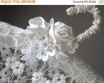 ON SALE Lace Cascade Hanger. Bridal Padded Satin Victorian Style. Artisan Hand Made. Bridal Shower Gift. Venice Extra Wide Lace