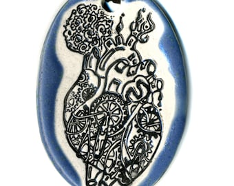 Mechanical Heart Ceramic Necklace in Blue