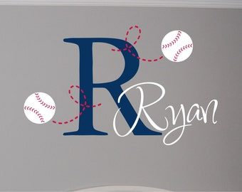 Baseball Name & Initial Wall Decal - Baseball Wall Decal - Baseball Wall Decal with Name and Initial - Boy Wall Decal - Nursery Decal