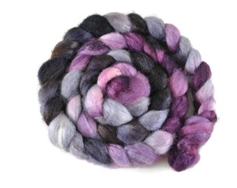 BFL Silk 4 oz hand dyed roving, Combed Top, Blue Faced Leicester spinning fiber, 75/25 BFL/Silk, purple, gray, bfl top - Maleficent