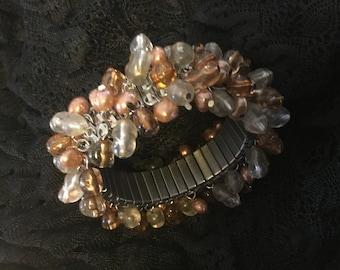 Vintage Cha Cha Bracelet Japan Expansion  50's Amber Copper Clear Silver Tone