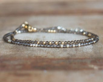 Smoky Quartz Bracelet, Skinny Bracelet, Smokey Quartz, Gemstone Jewelry, Gift for Her, Beaded Bracelet, Delicate Bracelet, Handmade Jewelry