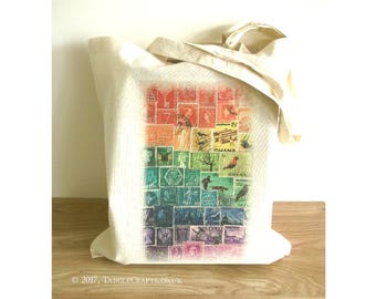 Rainbow Postage Stamp Tote Bag | long handle shopper, reusable cotton fabric market bag | eco friendly student book bag, lgbt rainbow gift
