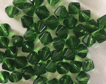50 x 6mm green green glass bicone beads