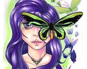 Butterflies with stylized woman's portrait