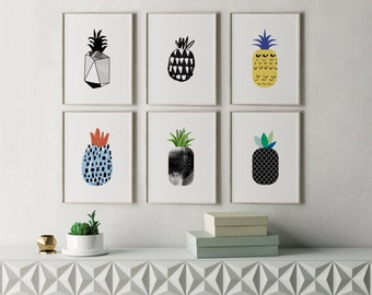 Printable Pineapple Decor, Pineapple Print, Pineapple Printable, Modern Kitchen Art, Kitchen Decor, Modern Wall Art, Modern Kitchen Prints