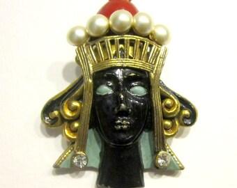 Vintage Enamel Blackamoor Princess Brooch Crown Head Royal Black Face Royalty Rare Antique Jewelry Collector's Piece