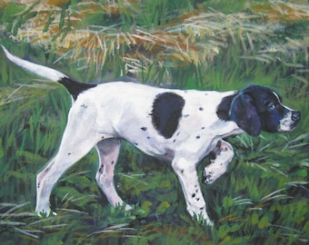 English Pointer dog art CANVAS print of LA Shepard painting 8x10