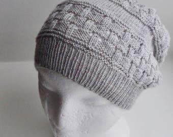 "Slouchy beanie hat knitting pattern ""Milkwalk"""
