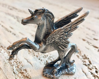 Pewter Unicorn , pewter,figurine, winged horse