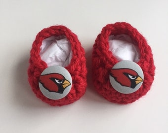 Arizona Cardinals baby booties, baby booties, infant shoes, crochet baby booties, booties for baby, crochet baby shoes