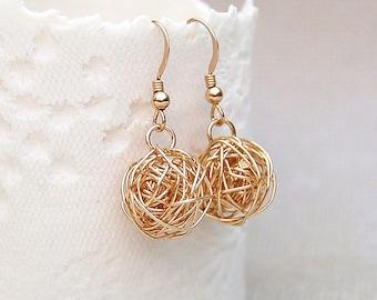 Gold Filled Birds Nest Earrings