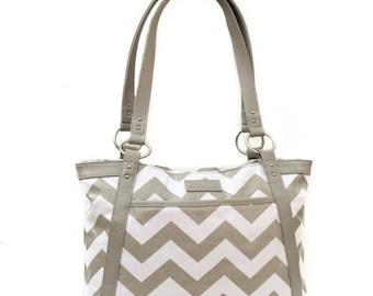 Chevron Laptop Bag in Gray and White Chevron - Laptop Bag, Laptop Tote, Coated Canvas and Vegan Leather