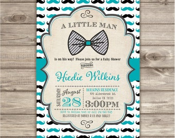 50 Printed Mustache Little Man Invitations Bow Tie A little Man is on the way baby shower Gentleman Black TealNV758