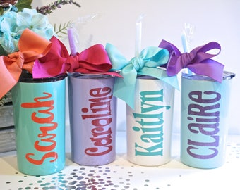 Personalized KIDS Stainless Steel Tumbler 12 oz. with straw and lid, Personalized KidsTumbler, Flower Girl Tumbler, Kids Gift, Sippy cup