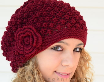Hand Knitted Hat, Burgundy Knit Hat,Slouchy Hat, Beret,, Ribbed, Chunky, Cute Hat, Beanie, Painter Hat