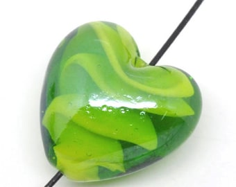 Green lampwork glass bead, heart shape