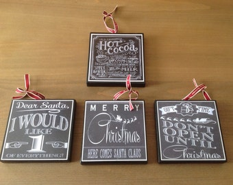 Chalkboard Christmas Ornaments (Set A)