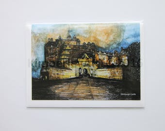 Edinburgh Castle Greetings Card, Artwork Greetings Card, Watercolour Greetings Card, Birthday Card, Castle Artwork Card, Blank Card