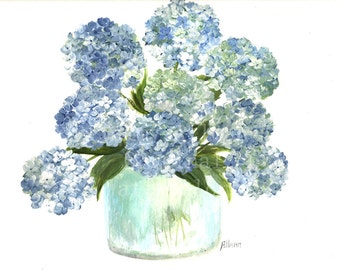 Original Watercolor Hydrangea Series 1, Original Watercolor Print, Watercolor Blue Hydrangea Painting,