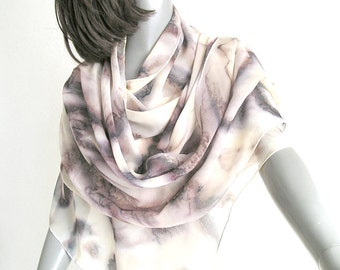 Hand Painted Silk Shawl Wrap, Unique Scarf Coverup, One of a Kind, Earth Tones Tan Sand Brown Rust, Jossiani Silk Creation, Ready to ship.