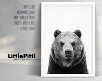 Bear print, nursery print, animal print, bear nursery art, bear wall decor, woodland print, bear download, grizzly bear print, bear wall art
