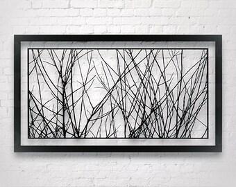 Tree Branches Art, Original Paper Cut Out, Interior Design, Large Wall Artwork, Home Deco Wall Hanging, Modern Wall art, Minimalist wall art