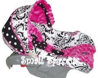 Custom Boutique Elise Hot Pink Rosette Minky Infant Car Seat Cover 5 piece set