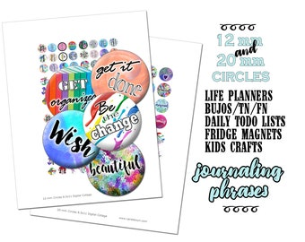 12mm and 20mm Circles / 48 Printable Stickers / Motivational Phrases / Journaling Prompts / For Planners HP FN TN Bujo Midori Erin Condren
