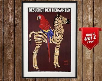 Tiergarten - Zoo-Tiere, Zebra, Zoo-Druck, Papagei, Zoo-Druck, Zoo Poster, Vintage Zoo, Vintage Zoo Poster, Zebra Poster, Papagei-Plakat