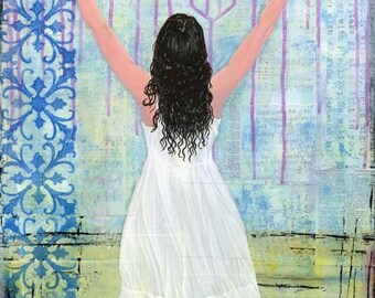 Mixed Media Painting - Print Mounted on Wood - Captivated