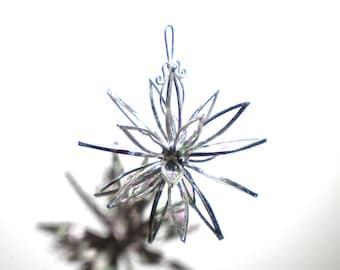 Winter Dahlia - 3D Stained Glass Flower Burst -  Small Clear Iridescent Suncatcher Home Garden Decor Hanging Yard Art (READY TO SHIP)
