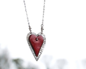 Romantic Necklace - Heart Necklace - Love Jewelry - Anniversary Gift - Sterling Silver Heart Necklace - Red Enamel Heart - Wife Gift Idea