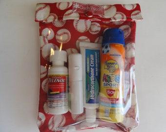 Baseball Ouch Pouch Clear Pocket Organizer for First Aid Sports Gear Teacher Coach Little League Summer Camp Travel Large 6x8
