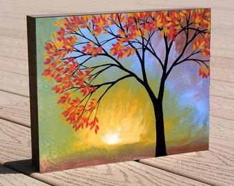 """Great gift ... Tree Print mounted to a deep birch panel, 8 x 10...ready to hang...""""Here Comes the Sun"""" by Amy Giacomelli"""